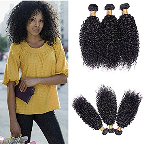 Perstar Hair 8A Grade Brazilian Kinky Curly Virgin Hair Bundles 3 Pcs/lot Remy Human Hair Weaves Wet and Wavy Hair Extension Natural Color (8 10 12, Natural Color)