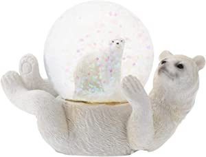 Elanze Designs White Polar Bear Mommy and Cub Figurine 45MM Glitter Water Globe Decoration