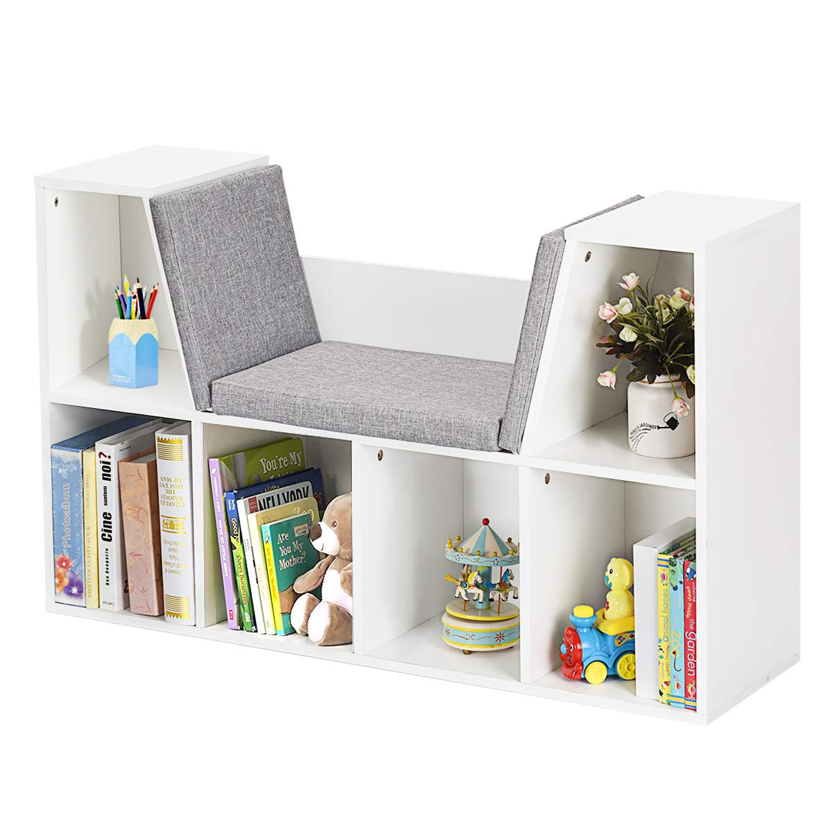 HONEY JOY 6-Cubby Kids Bookcase w/Cushioned Reading Nook, Multi-Purpose Storage Organizer Cabinet Shelf for Children Girls & Boys Bedroom Decor Room, White