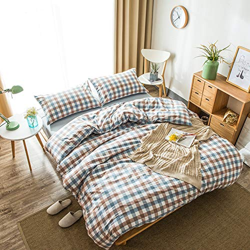 - DOUH Washed Cotton Duvet Cover King(104x90 inch), 3 Piece(1 Duvet Cover, 2 Pillow Shams) Blue Brown Geometric Pattern Duvet Cover Sets,Simple Style Bedding Set