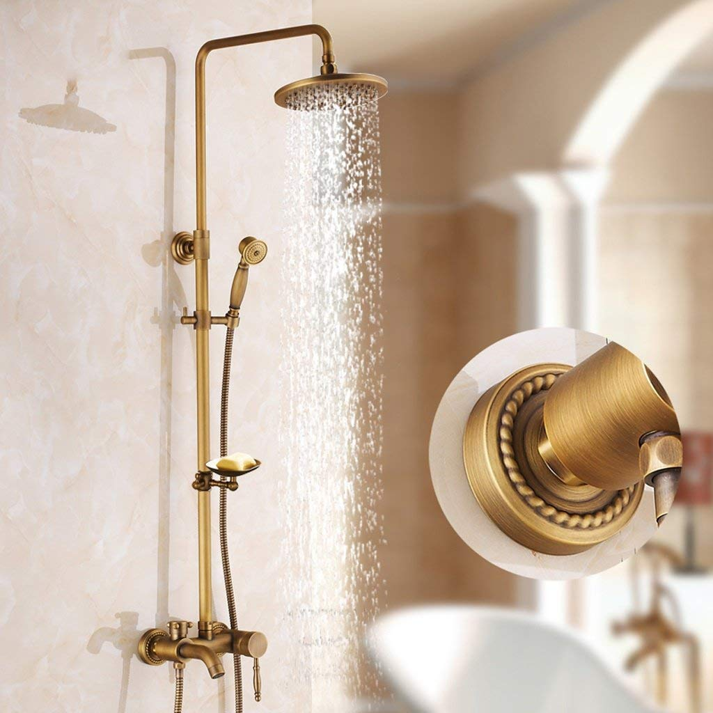 2 Shower set European-style Retro Copper Shower Shower Hot And Cold Faucet Wall-mounted, Can Be Lifted With redation (color    8)