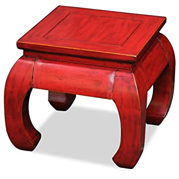 China Furniture Online Elmwood Table , 16 Inches Hand Crafted Chow Leg  Square Table Red