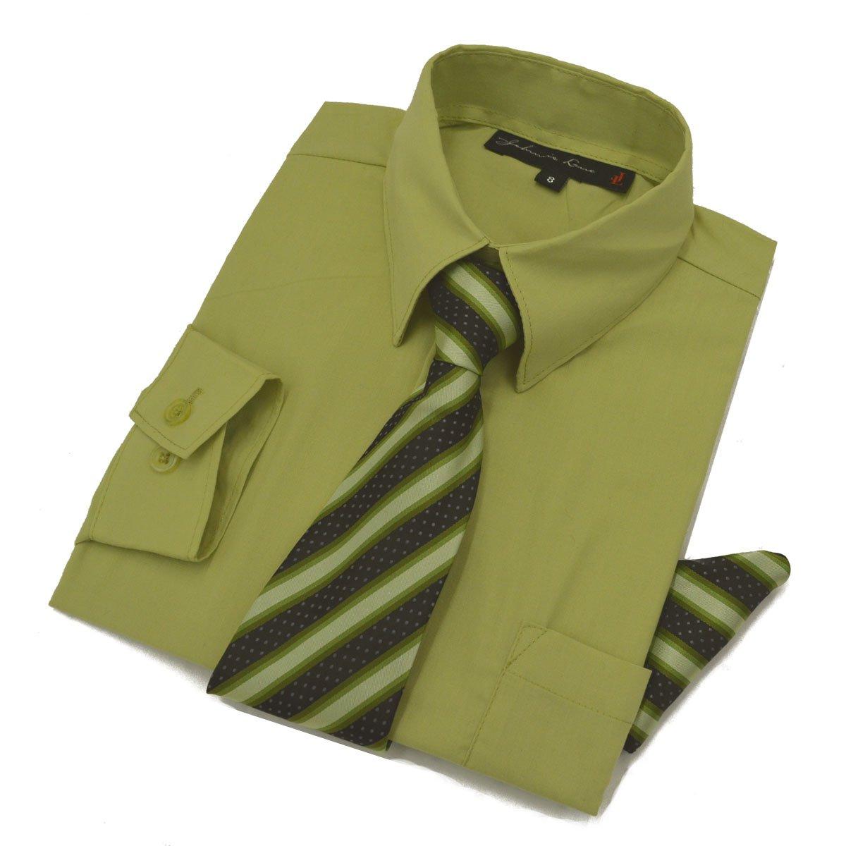 Boys Dress Shirt with Tie and Handkerchief #JL26 (18, Pistachio Green)