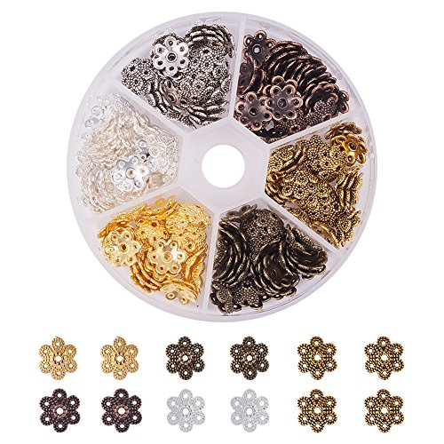 - PandaHall Elite About 180 Pcs Tibetan Style Alloy Flower Bead Caps 10x9.5x3mm for Jewelry Making 6 Colors