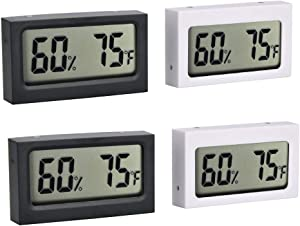 Pinmu 4-Pack Mini Digital Electronic Temperature Humidity Meters Gauge LCD Indoor Humidity Monitoring Display. for Cars, Bedrooms, Baby Rooms, Etc.