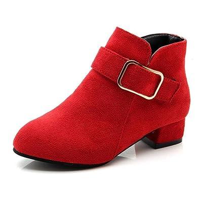 Botas de Tobillo para niñas Moda Botas de tacón bajo con Vestido de niñas de Ante Zapatos Formales: Amazon.es: Zapatos y complementos