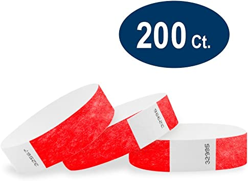 """200  3//4/"""" RED TYVEK WRISTBANDS RED ARM BANDS RED PAPER WRISTBANDS"""