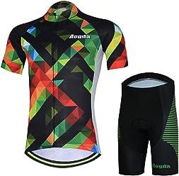 Aogda Men s Short Sleeve Cycling Jersey Bicycle Cycle Shirt Bib Shorts Bike  Clothing D193 01e0a9d5f