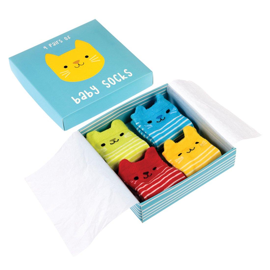 Multicolor bebé Calcetines 4pares en cartón regalo de algodón Diseño conejo Rex International