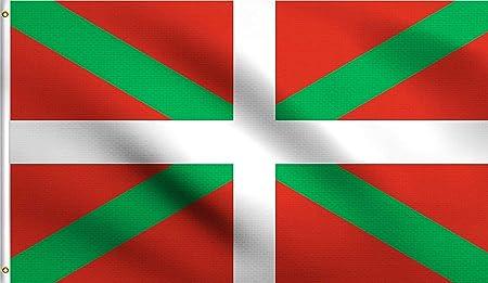 Ericraft Bandera Euskadi Grande 90x150cms Ikurriña Bandera balcón para Exterior Reforzada y con 2 Ojales metálicos, Ikurriña Tela Bandera País Vasco, Bandera Euskal Herria: Amazon.es: Jardín