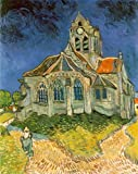 "Oil Painting Reproductions, Art Reproductions, Vincent Van Gogh, The Church at Auvers Sur Oise, 25.6"" x 32"" (65cm x 81cm), 100% Hand Painted Oil On Canvas Replica Masterpiece"