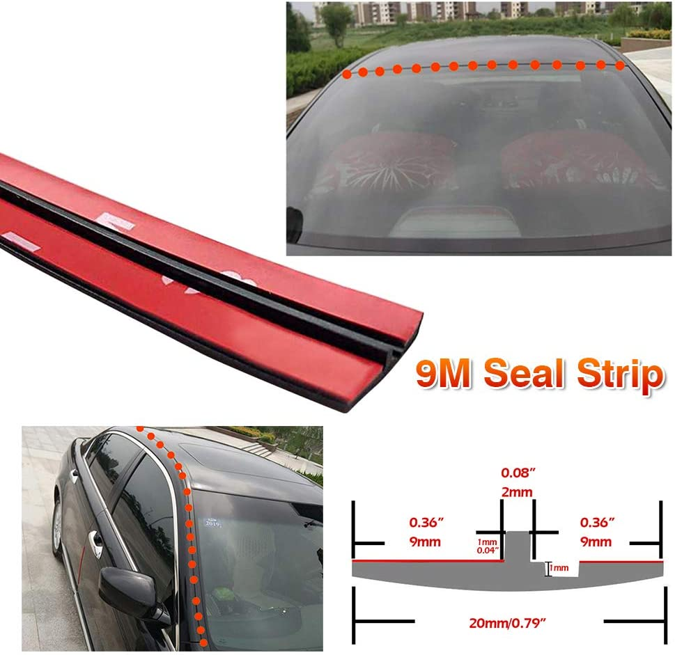 9M//30ft Car Auto Roof Edge Rubber Windshield Seal Strip Weatherstrip Soundproof