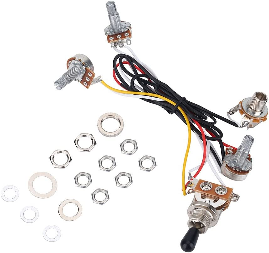 Amazon Com 3 Way Switch Wiring Harness Kit 2 Volume 1 Tone 1 Jack 500k Pots For Electirc Guitar Bass Musical Instruments