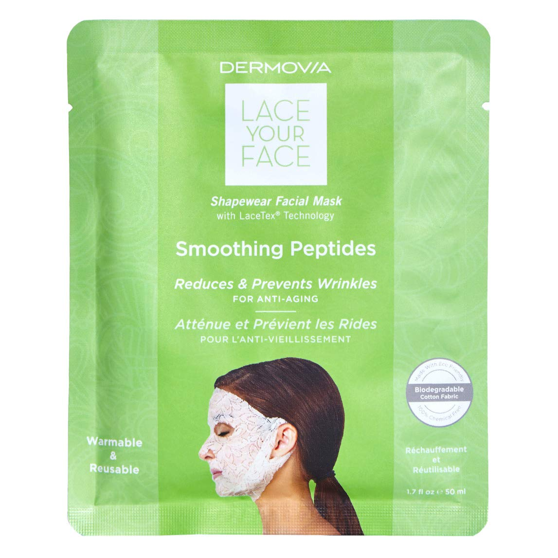 LACE YOUR FACE Patented Compression Facial Mask, AS SEEN ON SHARK TANK, Reusable Biodegradable Cotton Anti Aging Skin Care, Smoothing Peptides, Single