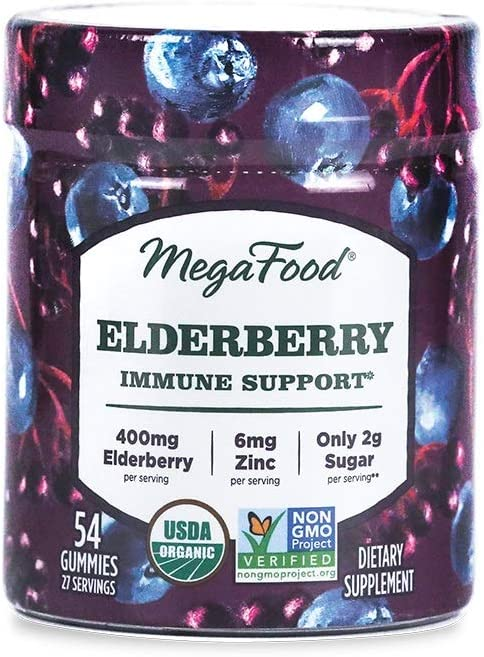 MegaFood, Elderberry Immune Support Gummies, Berry Soft Chew Supplement Vegan, 54 Gummies (27 Servings)