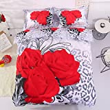 Alicemall 3D Flower Bedding Sets Twin 3 Red Roses 4-Piece Polyester Duvet Cover Sets Floral Bedding Sets, Duvet Cover, Flat Sheet, 2 * Pillow Cases (Twin)