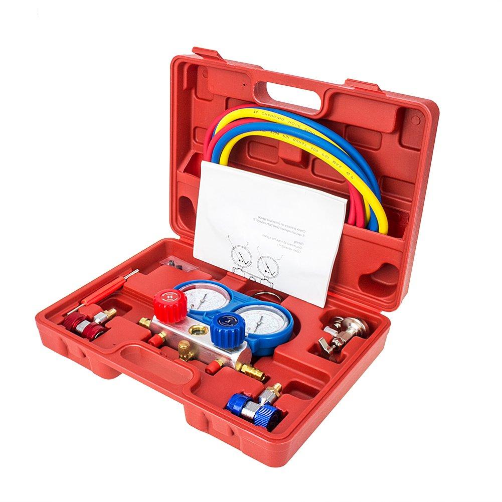 Bang4buck 4000PSI Diagnostic Manifold Gauge Kit Ideal For R134A, R12, R22, R502 Refrigerants Auto Service Kit, 5FT Hose, 7/16-20UNF Thread Size