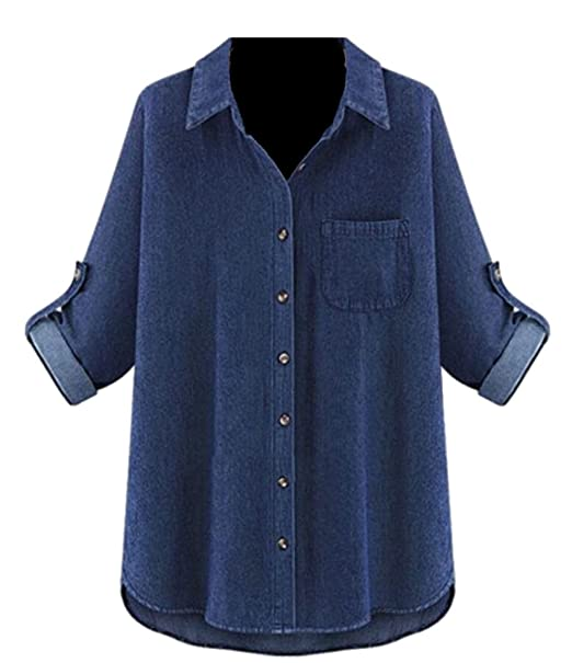 8a2cd44de8 Generic Women s Denim Shirt Chambray Tencel Long Sleeve Button Down Shirts  Oversize Blouse Dark Blue S