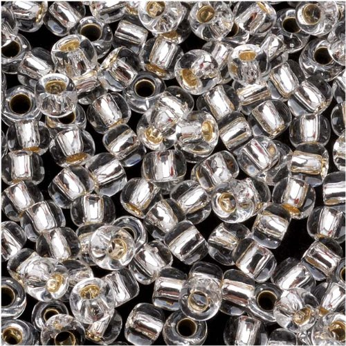 Toho Round Seed Beads 6/0 #21 'Silver Lined Crystal' 8g (Foil Lined Glass Beads)