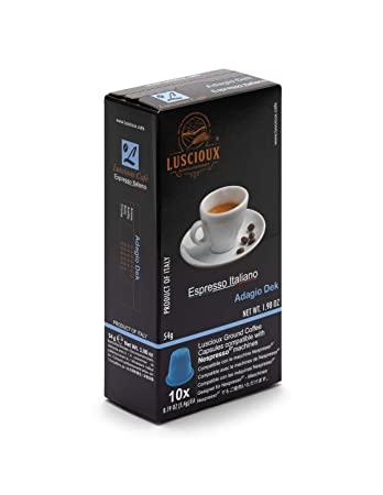 LUSCIOUX Adagio DEK - Nespresso Compatible Coffee Capsules | Pack of 10 [Total 100 capsules