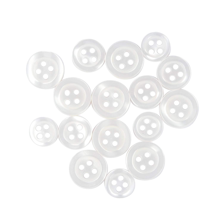 Light Grey #2 13mm QTY 16 Shirt Buttons 24pc Set Sleeve Buttons 11.5mm QTY 8