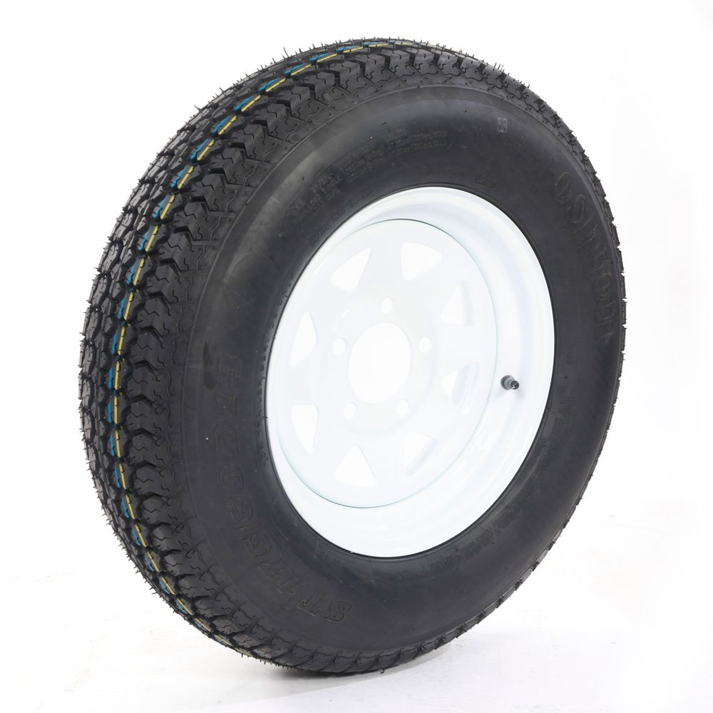 Bias ST175/80d13 trailer tire and wheel 13'' White Spoke Trailer Wheel (5x4.5) bolt circle Pack of 2 by Motorhot (Image #4)