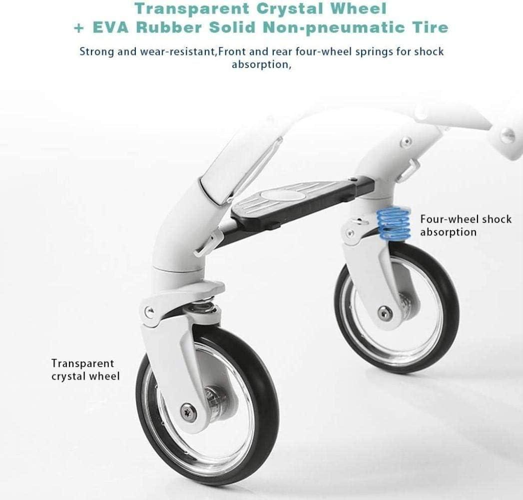 Wagen Kinderwagen, Kompakt-Buggy-Spaziergänger, beweglicher Pram Carriage Anti-Shock Kinderwagen Aluminium-Speicher-Korb, große Sitzfläche Dreirad (Color : Pink) Gray