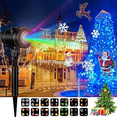 Goutoday Christmas Laser Projector, Decoration Lights Projector with 16 Slides LED Landscape Projection Lights for Celebration, Christmas and New Years Decorations with Timer