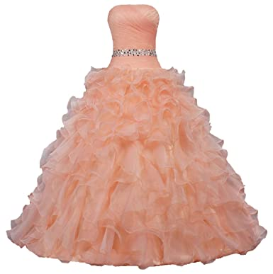 bb23bd915d17c Image Unavailable. Image not available for. Color: Unbranded* Women's Pretty  Ball Gown Quinceanera Dress Ruffle Prom Dresses Size 2 US Peach Pink