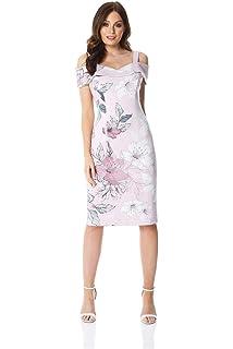 a6c64032781 Roman Originals Women Floral Print Cold Shoulder Dress - Ladies Summer  Spring Elegant Cruise Wedding Cocktail Flower…