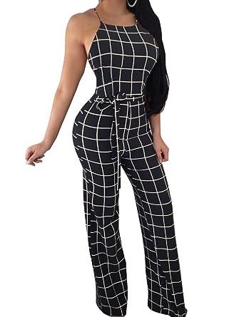 f0ed77919db3 Amazon.com  FANCYINN Women Plaid Backless Spaghetti Strap Wide Leg Jumpsuit  Checkered Romper  Clothing