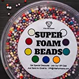 Floam Beads - Rainbow Foam Beads - Foam Balls for Slime with Reusable Slime Container - Arts Crafts Supplies Prime Beads