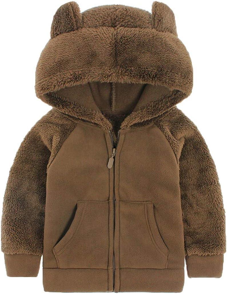 Nisowe - Abrigo de peluche con capucha y costuras de piel sintética para niños marrón 2-3 Años: Amazon.es: Ropa y accesorios