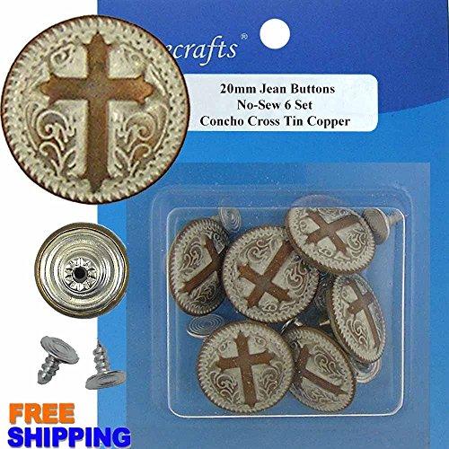 20 mm No-Sew Concho Cross Tin Copper Jean Tack Buttons CT. 6