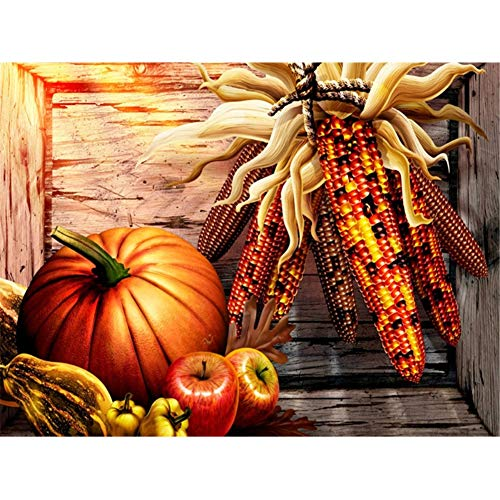 5D Diamond Painting by Number Kits New DIY Full Drill Diamond Painting Kit for Adults Cross Stitch Embroidery Arts Christmas Gifts (Pumpkin, 40x30cm)]()