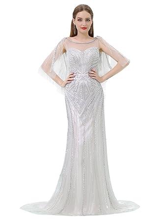VANKOKO Women\'s Luxury Crystal Beaded Prom Dresses Long Formal ...