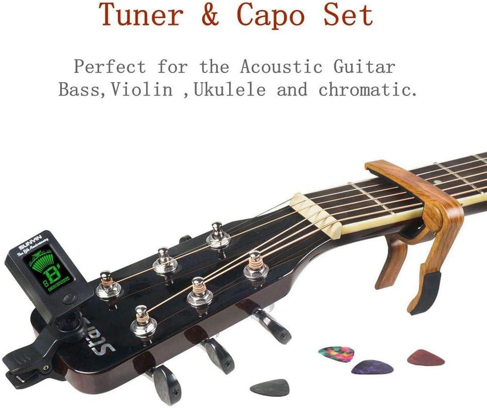 SUNYIN afinador de guitarra y cejilla y púas, afinador digital con ...