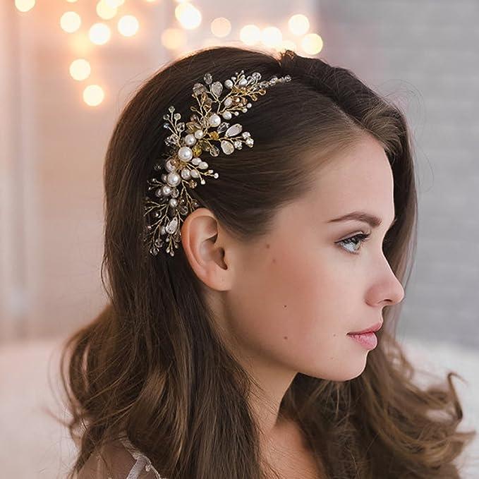 Women Wedding Bridal Pearl Flower Crystal Hair Pins Bridesmaid Clip Side Comb CA