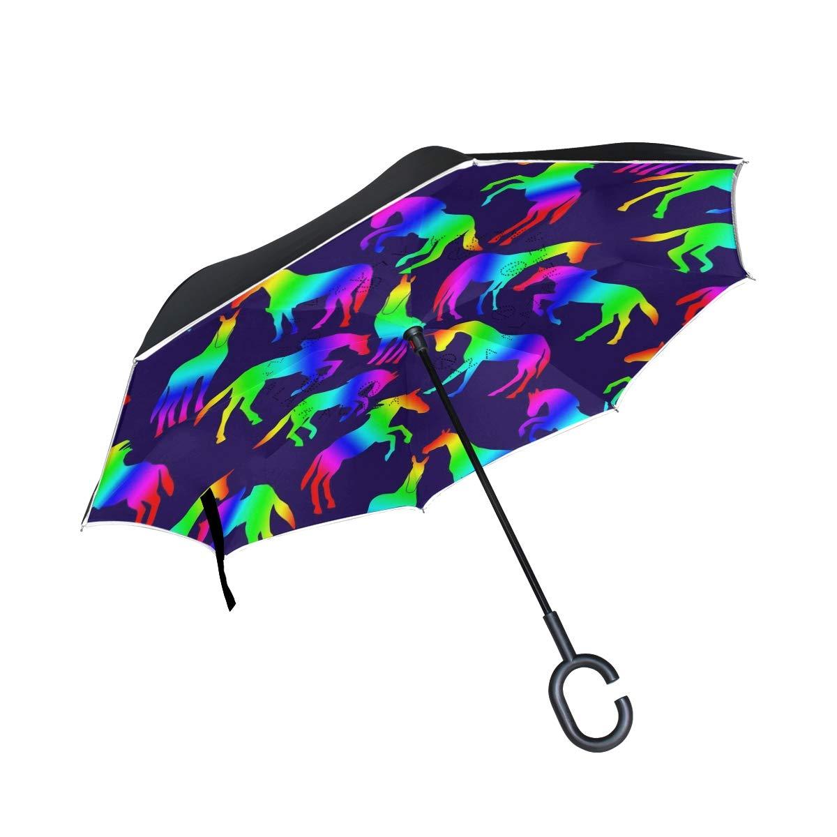 DOPKEEP Rainbow Horses Fun Celebrate Double Layer Inverted Umbrella Cars Reverse Umbrella,UV Protection Windproof Large Straight Umbrella for Car Rain Outdoor with C-Shaped Handle