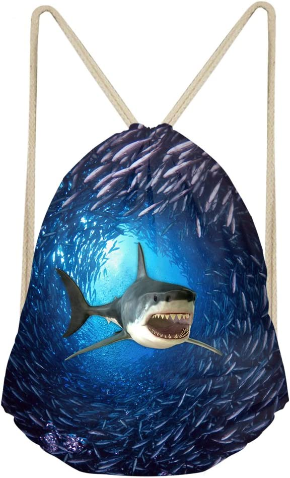 INSTANTARTS 3D Print Cool Shark Drawstring Folding Shoulder Backpack Gymsack Pull String Bag Navy Blue