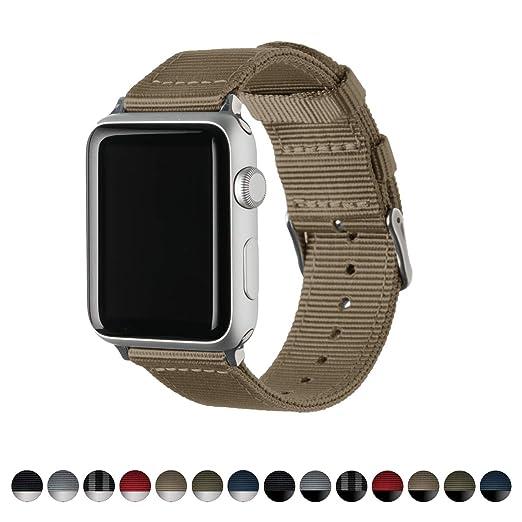 Archer Watch Straps | Repuesto de Correa de Reloj de Nailon para Apple Watch, Hombre y Mujer | Caqui/Acero Inoxidable, 42mm: Amazon.es: Relojes