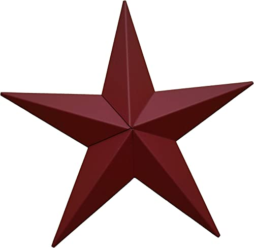 AMISH WARES 72 Inch Heavy Duty Metal Barn Star Painted Solid Cranberry.