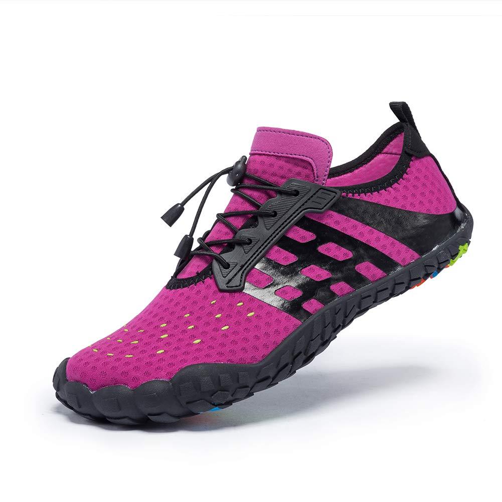 FEIFAN Men Women Water Shoes Quick Dry Adult Beach Swim Barefoot Lightweight Shoes FiveFingers Water Shoes Purple 39