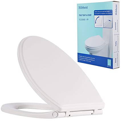 Super Hibbent Premium One Click Elongated Toilet Seat With Cover Oval Easy Installation And Quick Release For Easy Cleaning Stable Hinge Design To Alphanode Cool Chair Designs And Ideas Alphanodeonline