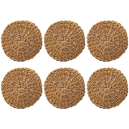 - Argon Tableware Water Hyacinth Weave Placemats - 3 Designs Available - Set of 6 - Sea Grass