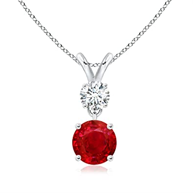 Angara Round Ruby Pendant in Platinum - July Birthstone Necklace