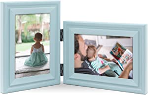 JD Concept Vertical Horizontal Combo, Double 4x6 Soft-Blue Wood Hinged Photo Picture Frame, Desktop or Wall Mounted, Portrait and Landscape View