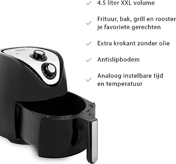 Tristar FR-6994 Crispy XXL - Freidora sin aceite, volumen 4.5 l, 1500 W, cesta antiadherente, panel de control analógico, temporizador y temperatura regulable 80-200 °C, adecuada para toda la familia: Amazon.es: Hogar