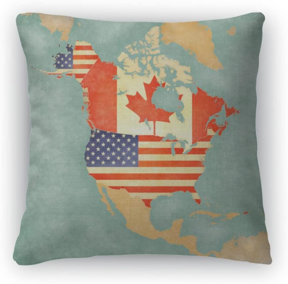 Gear New Silver Throw Pillow, 26×26, Map of North America USA and Canada Vintage Series