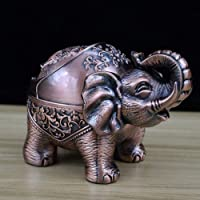 Indoor prullenbak Retro asbak, Stand Rood Koper Creative Elephant vormige metalen asbak met Deksel Anti-Fall winddicht, Living Room Slaapkamer Kantoor rookartikelen
